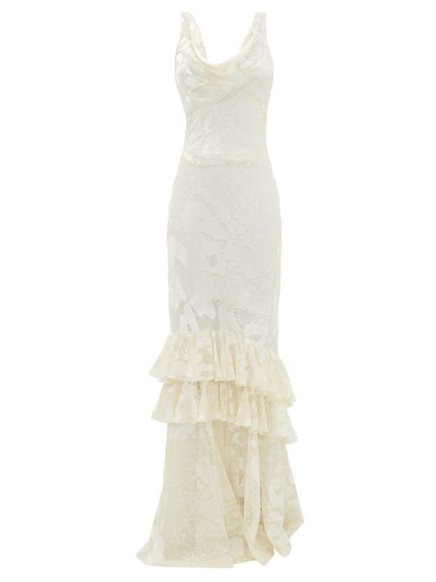We love this ruffled, vintage-inspired dress by Rat & Boa with an exquisite satin finish. 275 Rat & Boa at Matches Fashion