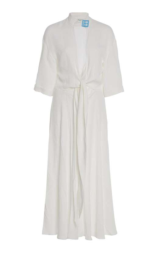 This is a dress for the low-key yet fashion-forward bride with it's cut-out tie detail Off White at Moda Operandi 359